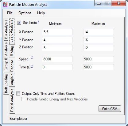 Particle Motions Analyst Screenshot